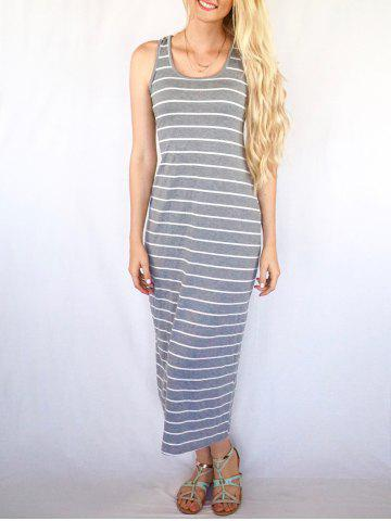 Chic Casual Scoop Neck Sleeveless Striped Women's Maxi Dress