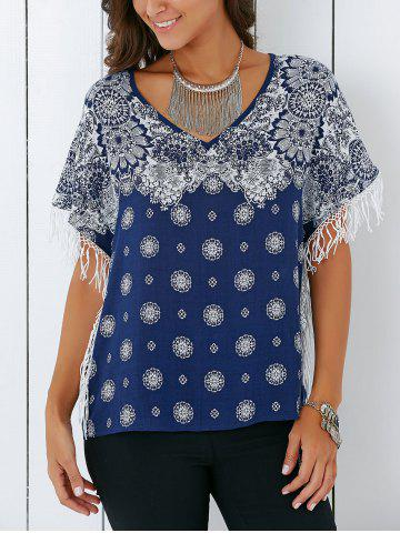 Vintage V Neck Tribal Print Fringed Blouse - Deep Blue - S