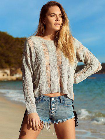Long Sleeve Knitted Crochet See Through   Cover-Up - Gray - S