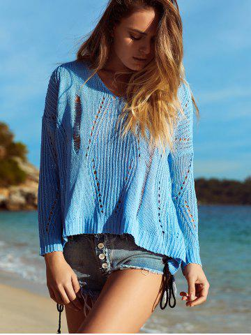 Alluring V Neck Hollow Out Crochet Cover-Up - Azure - S
