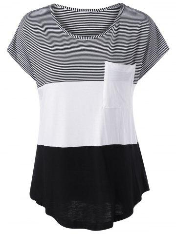Online Color Block Asymmetrical T-Shirt WHITE AND BLACK M