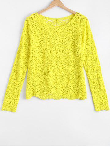 Shop Chic Fanshaped Lace Crochet Trim See-Through Spliced Blouse