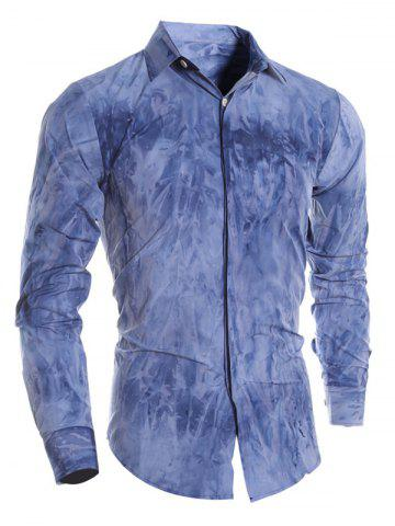 Discount Tie Dye Turn-down Collar Long Sleeve Shirt For Men DEEP BLUE L