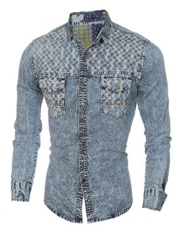 Unique Pockets Front Spliced Snap Button Up Long Sleeve Denim Shirt For Men