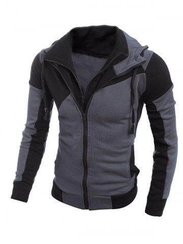 Best Color Spliced Long Sleeve Double Zipper Hoodie For Men BLACK 2XL