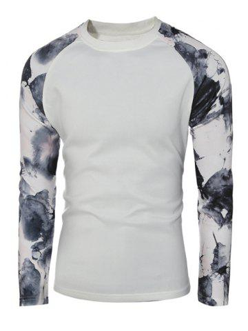 Latest Splatter Paint Crew Neck Raglan Sleeve Pullover Sweatshirt - M WHITE Mobile