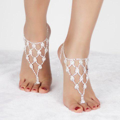 Discount Pair of Graceful Rhinestoned Geometric Anklets For Women