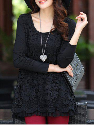 Charming Scoop Neck Lace Spliced Hollow Out Women's Blouse - Black - 3xl