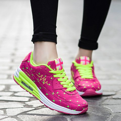 Cheap Stylish Tie Up and Heart Print  Design Athletic Shoes For Women