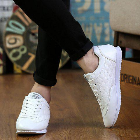 Latest Fashionable Checked and Solid Color Design Athletic Shoes For Men - 44 WHITE Mobile