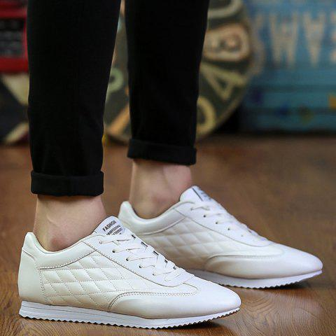 Shop Fashionable Checked and Solid Color Design Athletic Shoes For Men - 42 WHITE Mobile