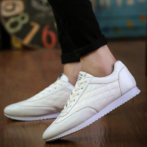Best Fashionable Checked and Solid Color Design Athletic Shoes For Men - 42 WHITE Mobile