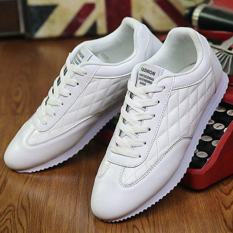 Online Fashionable Checked and Solid Color Design Athletic Shoes For Men - 40 WHITE Mobile