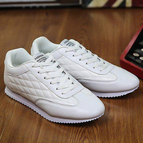 Outfit Fashionable Checked and Solid Color Design Athletic Shoes For Men - 40 WHITE Mobile