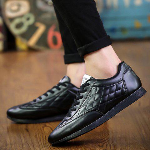 Store Fashionable Checked and Solid Color Design Athletic Shoes For Men - 42 BLACK Mobile