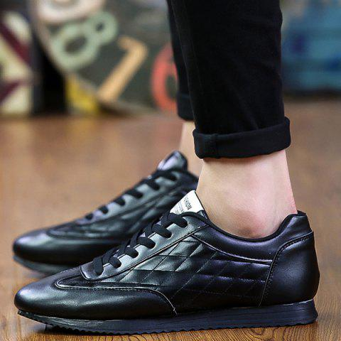 Shop Fashionable Checked and Solid Color Design Athletic Shoes For Men - 42 BLACK Mobile