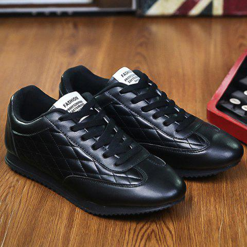 Unique Fashionable Checked and Solid Color Design Athletic Shoes For Men - 42 BLACK Mobile