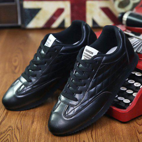 Best Fashionable Checked and Solid Color Design Athletic Shoes For Men - 42 BLACK Mobile