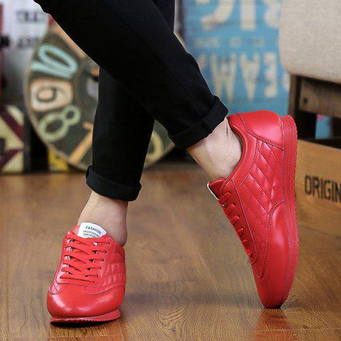 Sale Fashionable Checked and Solid Color Design Athletic Shoes For Men - 42 RED Mobile