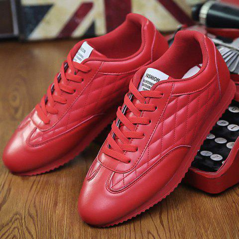 Buy Fashionable Checked and Solid Color Design Athletic Shoes For Men - 42 RED Mobile