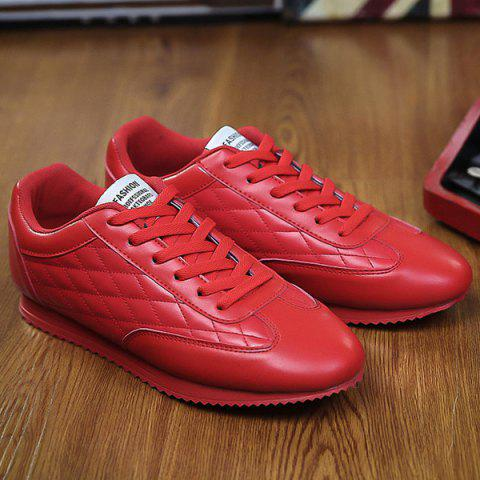 Trendy Fashionable Checked and Solid Color Design Athletic Shoes For Men - 42 RED Mobile