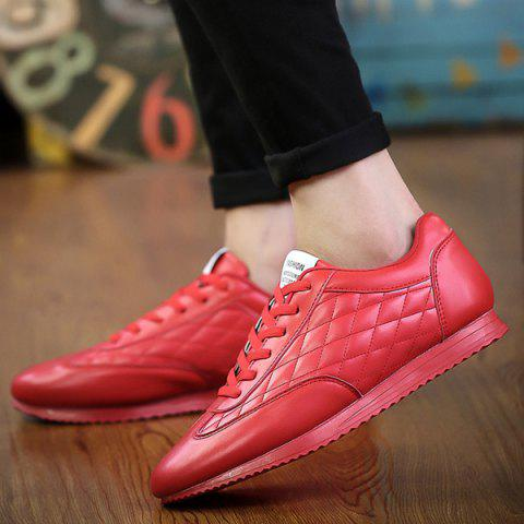 Fancy Fashionable Checked and Solid Color Design Athletic Shoes For Men - 42 RED Mobile