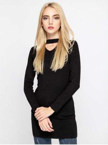 Buy Stylish Cut Out Pure Color Slim Sweater