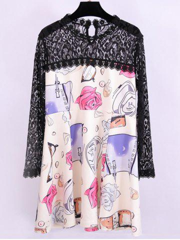 Fancy Plus Size Lace Splicing Cartoon Print Dress