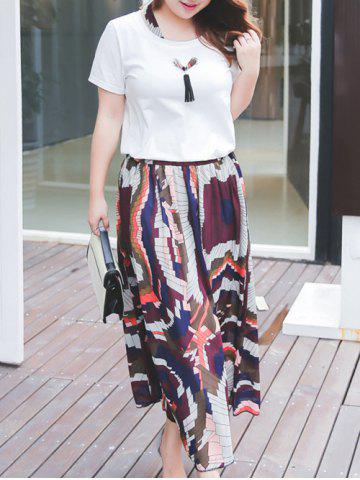 Outfit Plus Size Tie Neck T-Shirt and Printed Maxi Skirt