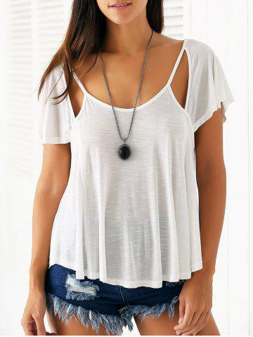 New Casual Scoop Neck Cutout Women's Flowy T-Shirt - M WHITE Mobile