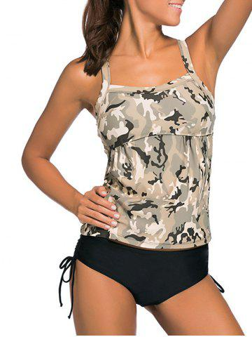 Criss Back Padded Camouflage Tankini Swimsuits - Colormix - L