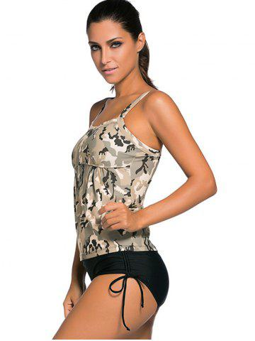 Unique Criss Back Padded Camouflage Tankini Swimsuits - S COLORMIX Mobile