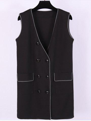 New Plus Size Double Breasted Flap Pockets Waistcoat
