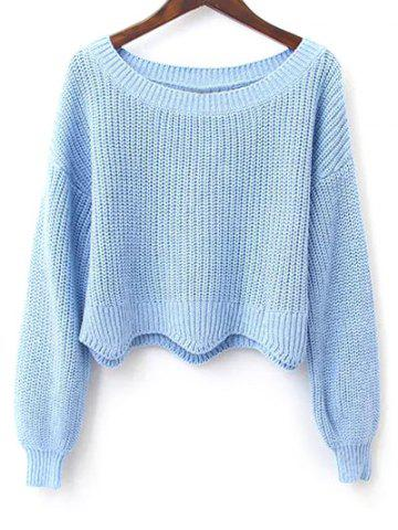 Online Long Sleeves Scalloped Cropped Sweater