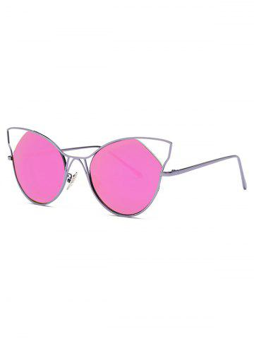 Stylish Cut Out Cat Ear Mirrored Sunglasses - Rose