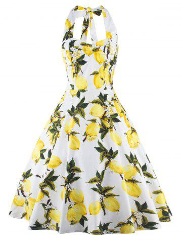 Outfit Tea Length Halter Neck Lemon Print Vintage Dress YELLOW M