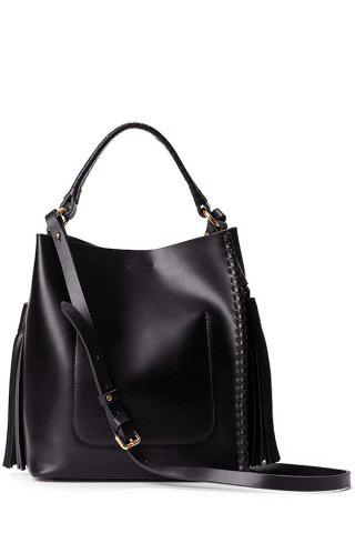 Open Tassels Tote Bag - Black