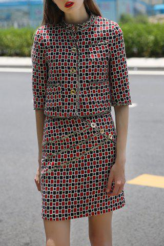 Fashion Buttons Checked Blouse and Plaid Bodycon Skirt