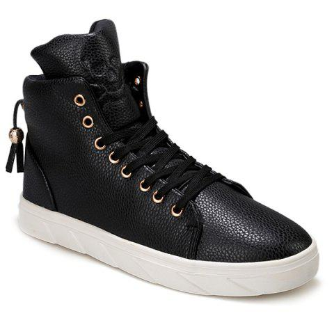 Fashionable Skull Embossed and High Top Design Casual Shoes For Men