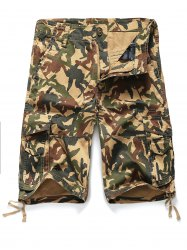 Zipper Fly Straight Leg Pockets Embellished Camouflage Shorts