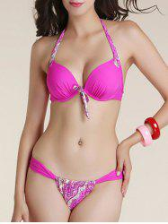 Alluring Halter Neck Bowknot Printed Bikini Set For Women - ROSE RED XL