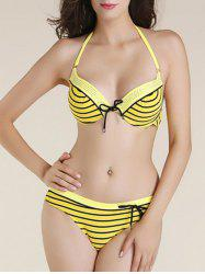 Chic Striped Beaded Bikini Set For Women - YELLOW 2XL