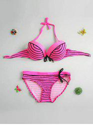 Chic Striped Beaded Bikini Set For Women