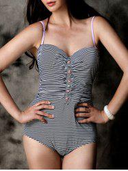 Buttoned Ruched High Waisted Striped Swimsuit