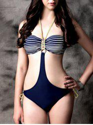 Charming Hollow Out Buttoned Swimwear For Women - DEEP BLUE L