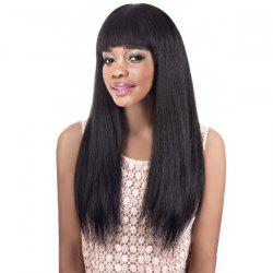 Graceful Long Black Straight Full Bang Women's Synthetic Wig