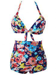 Flowers Pleated Push Up High Waist Halter Bikini Set