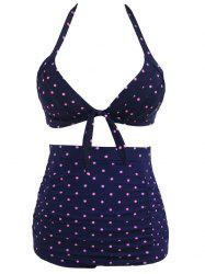 Stylish Polka Dot Print High Waist Halter Bikini Set