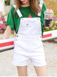 Front Pocket Pure Color Overalls Shorts -