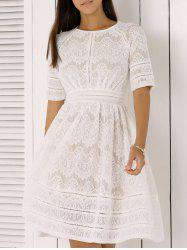 Pure and Plain High-Waist Lace Skater Dress -
